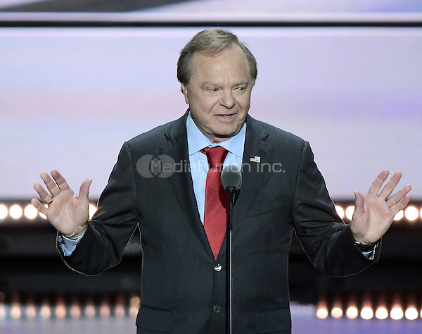 Harold Hamm, CEO, Continental Resources, makes remarks at the 2016 Republican National Convention held at the Quicken Loans Arena in Cleveland, Ohio on Wednesday, July 20, 2016.<br /> Credit: Ron Sachs / CNP/MediaPunch<br /> (RESTRICTION: NO New York or New Jersey Newspapers or newspapers within a 75 mile radius of New York City)
