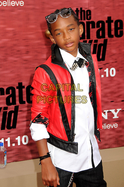 "JADEN SMITH.""The Karate Kid"" Los Angeles Premiere held at Mann's Village Theatre, Westwood, California, USA,  .7th June 2010..half length red black leather jacket sunglasses on head white shirt  .CAP/ADM/BP.©Byron Purvis/AdMedia/Capital Pictures."