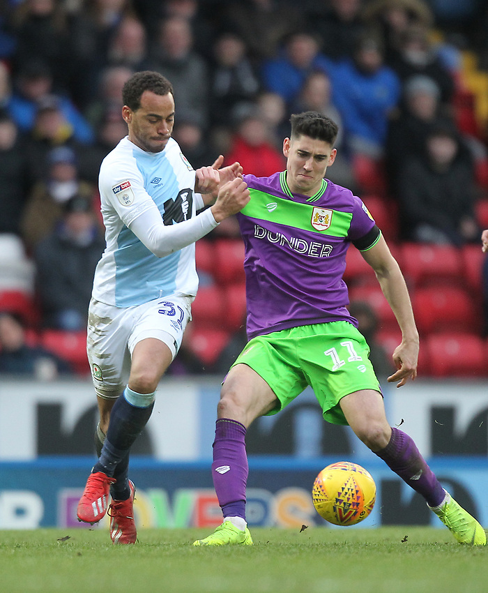 Blackburn Rovers Elliott Bennett in action with Bristol City's Callum O'Dowda<br /> <br /> Photographer Mick Walker/CameraSport<br /> <br /> The EFL Sky Bet Championship - Blackburn Rovers v Bristol City - Saturday 9th February 2019 - Ewood Park - Blackburn<br /> <br /> World Copyright © 2019 CameraSport. All rights reserved. 43 Linden Ave. Countesthorpe. Leicester. England. LE8 5PG - Tel: +44 (0) 116 277 4147 - admin@camerasport.com - www.camerasport.com