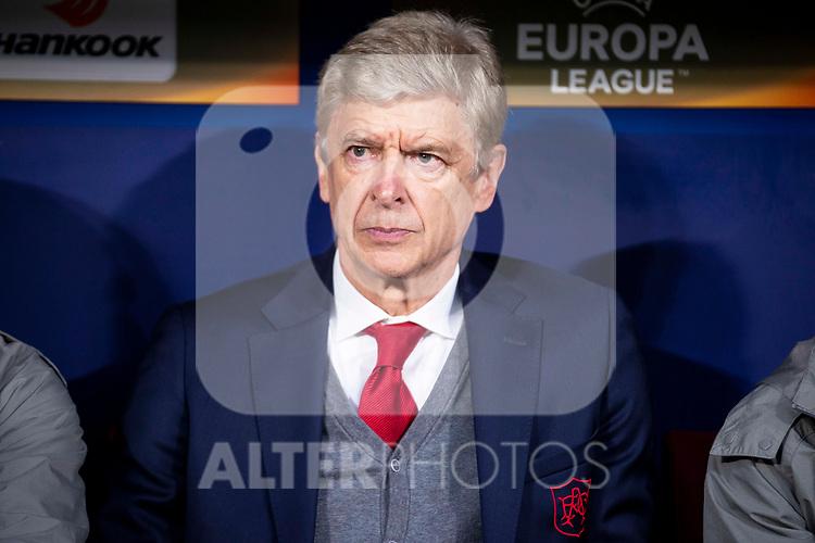 Arsenal FC coach Arsene Wendger during Europa League Semi Finals First Leg match between Atletico de Madrid and Arsenal FC at Wanda Metropolitano in Madrid, Spain. May 03, 2018.  (ALTERPHOTOS/Borja B.Hojas)