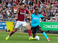 Fleetwood Town's Amari'i Bell competing with Northampton Town's Matt Crooks <br /> <br /> Photographer Andrew Kearns/CameraSport<br /> <br /> The EFL Sky Bet League One - Northampton Town v Fleetwood Town - Saturday August 12th 2017 - Sixfields Stadium - Northampton<br /> <br /> World Copyright &copy; 2017 CameraSport. All rights reserved. 43 Linden Ave. Countesthorpe. Leicester. England. LE8 5PG - Tel: +44 (0) 116 277 4147 - admin@camerasport.com - www.camerasport.com