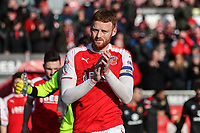Cian Bolger of Fleetwood Town leads out the teams ahead of the Sky Bet League 1 match between Fleetwood Town and MK Dons at Highbury Stadium, Fleetwood, England on 24 February 2018. Photo by David Horn / PRiME Media Images