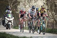the race leaders rolling over the Plugstreets:<br /> Peter SAGAN (SVN/BORA-Hansgrohe), Edward Theuns (BEL/Trek Segafredo), Matteo TRENTIN (ITA/Mitchelton-Scott) & Mike Teunissen (NED/Jumbo-Visma)<br /> <br /> 82nd Gent – Wevelgem in Flanders Fields 2019 (1.UWT)<br /> Deinze – Wevelgem: 251,5km<br /> ©kramon
