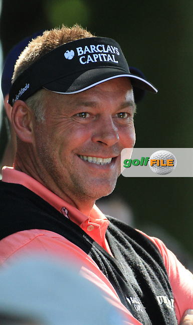 Darren Clarke laughs while waiting to tee off on the 16th tee during the first round of the 3 Irish Open, at the Killarney Golf and Fishing Club, Killarney, Ireland.Picture Fran Caffrey/www.golffile.ie.