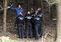 Pictured: South Wales Police officers at the scene where the body of 15 year old Rebecca Aylward was discovered. Monday 25 October 2010<br />
