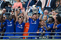 Chelsea's Olivier Giroud celebrates with the trophy <br /> <br /> Photographer Craig Mercer/CameraSport<br /> <br /> Emirates FA Cup Final - Chelsea v Manchester United - Saturday 19th May 2018 - Wembley Stadium - London<br />  <br /> World Copyright &copy; 2018 CameraSport. All rights reserved. 43 Linden Ave. Countesthorpe. Leicester. England. LE8 5PG - Tel: +44 (0) 116 277 4147 - admin@camerasport.com - www.camerasport.com