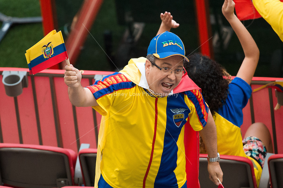 June 8, 2015: An Ecuador fan cheers his team during a Group C match at the FIFA Women's World Cup Canada 2015 between Cameroon and Ecuador at BC Place Stadium on 8 June 2015 in Vancouver, Canada. Sydney Low/AsteriskImages