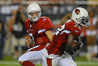 Oct. 16, 2006; Glendale, AZ, USA; Arizona Cardinals quarterback (7) Matt Leinart hands off the ball to running back (32) Edgerrin James against the Chicago Bears at University of Phoenix Stadium in Glendale, AZ. Mandatory Credit: Mark J. Rebilas