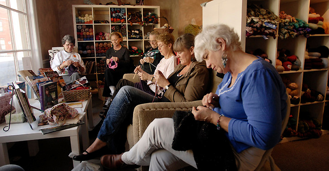 The Yard Garden shop on Pomfret Street hosts a weekly knitting group, from left Abby Mernan, Judy Coffe, Sandy Abalazy, Karen Walkerson, Andrea Woodson, Kate BarrThursday, Oct. 28, 2010 in Pottsville, Pa. (Bradley C TBower/KeyStone Edge)