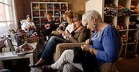 The Yard Garden shop on Pomfret Street hosts a weekly knitting group, from left Abby Mernan, Judy Coffe, Sandy Abalazy, Karen Walkerson, Andrea Woodson, Kate BarrThursday, Oct. 28, 2010 in Pottsville, Pa. (Bradley C TBower/KeyStone Edge)