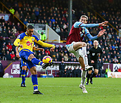 2nd February 2019, Turf Moor, Burnley, England; EPL Premier League football, Burnley versus Southampton; Yan Valery of Southampton clears with Peter Crouch of Burnley trying to block him