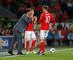 Chris Coleman manager of Wales instructs Aaron Ramsey of Wales during the World Cup Qualifying Group D match at the Cardiff City Stadium, Cardiff. Picture date 2nd September 2017. Picture credit should read: Simon Bellis/Sportimage