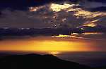 Sun setting over the mountains and the sea.Tenerife, Canary Islands.