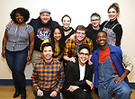 """Tiffany Mann, Jason SweetTooth Williams, Lauren Marcus, Stephanie Hsu, Jason Tam, George Salazar, Will Roland, Gerard Canonico, Katlyn Carlson, and Britton Smith during the first day of rehearsals for the Broadway cast of """"Be More Chill"""" at Pearl Studios on January 10, 2019 in New York City."""