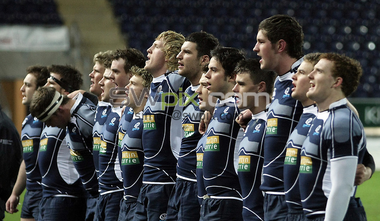 PICTURE BY VAUGHN RIDLEY/SWPIX.COM - Rugby Union - U20 Six Nations - Scotland v England - Falkirk, Scotland - 07/03/08...Copyright - Simon Wilkinson - 07811267706..Scotland sing national anthem.