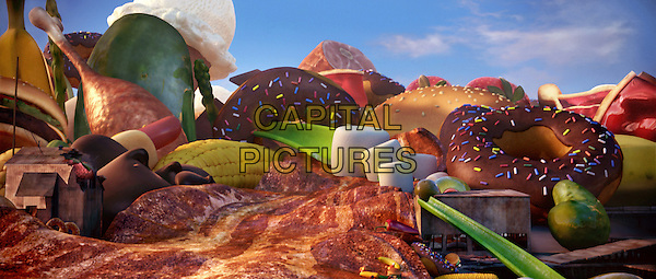 SCENE with Raining food.in Cloudy with a Chance of Meatballs.*Filmstill - Editorial Use Only*.CAP/FB.Supplied by Capital Pictures.