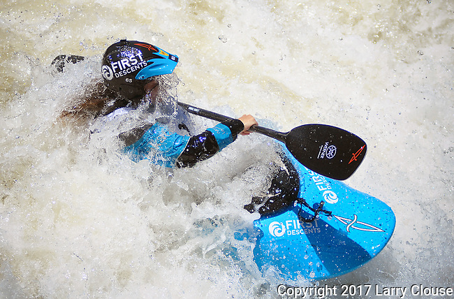 June 9, 2017 - Vail, Colorado, U.S. - South Carolina's, Adriene Levknecht, looks to her next move in spite of face full of water in the Freestyle Kayak competition during the GoPro Mountain Games, Vail, Colorado.  Adventure athletes from around the world meet in Vail, Colorado, June 8-11, for America's largest celebration of mountain sports, music, and lifestyle.