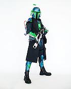 Matt Zeher, of Raleigh, N.C., dressed as a Mandalorian from Star Wars