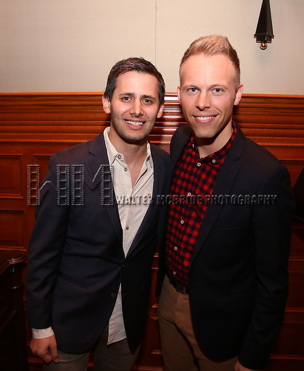 Benj Pasek and Justin Paul during the Dramatists Guild Fund intimate salon with Benj Pasek and Justin Paul at the home of Kara Unterberg on March 7, 2016 in New York City.