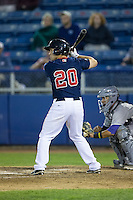 Kevin Heller (20) of the Salem Red Sox at bat against the Winston-Salem Dash at LewisGale Field at Salem Memorial Ballpark on May 13, 2015 in Salem, Virginia.  The Red Sox defeated the Dash 8-2.  (Brian Westerholt/Four Seam Images)