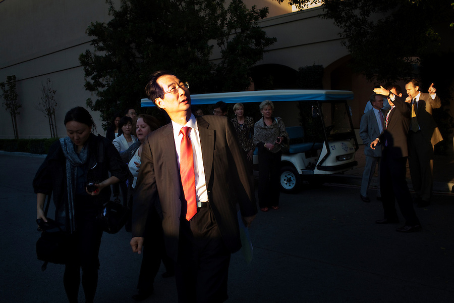 Los Angeles, California, January 24, 2011 - Han Duk-soo, South Korea's Ambassador to the United States during a private tour of Warner Bros. studio along with a delegation of Chamber of Commerce representatives and South Korean advisors. The delegation was in town as part of a sustained effort since 2007 to sell the idea of the U.S.-Korea Free Trade Agreement to the US. Final language is still being worked out, but the agreement could come to a vote in the next few weeks. ..The U.S.-Korea Free Trade Agreement would eliminate tariffs on 95% of U.S. goods within five years of its signing and could boost U.S. exports by $11 billion annually, the International Trade Commission estimates. It would also reduce trade restrictions and tariffs on U.S. auto and beef exports while continuing American tariffs on South Korean autos for a limited time. Southern California would almost certainly be a major beneficiary. Nearly $16 billion in goods moved between South Korean and Southland ports in 2009. The Los Angeles area is home to an estimated 600,000 Korean Americans, many of whom have strong business ties to their homeland and are heavily invested in the local economy. Southern California's entertainment industry also supports the pact, which would clamp down on unauthorized copying and sharing of music and videos in South Korea, where piracy is a serious problem. ..