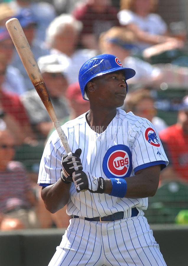Mar 21, 2007; Mesa, AZ, USA; Chicago Cubs center fielder (12) Alfonso Soriano against the Texas Rangers at Hohokam Park in Mesa, AZ. Mandatory Credit: Mark J. Rebilas