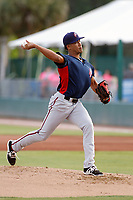 Potomac Nationals pitcher Joan Baez (18) on the pitcher's mound during a game against the Myrtle Beach Pelicans at Ticketreturn.com Field at Pelicans Ballpark on July 19, 2018 in Myrtle Beach, South Carolina. Potomac defeated Myrtle Beach 6-3. (Robert Gurganus/Four Seam Images)