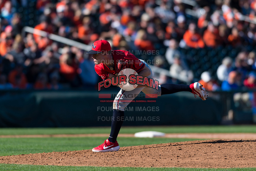 Gonzaga Bulldogs relief pitcher Taylor Davis (39) follows through on his delivery during a game against the Oregon State Beavers on February 16, 2019 at Surprise Stadium in Surprise, Arizona. Oregon State defeated Gonzaga 9-3. (Zachary Lucy/Four Seam Images)