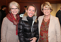 NWA Democrat-Gazette/CARIN SCHOPPMEYER Tory Gaddy (from left); Margaret Sova McCabe, UA School of Law dean and professor; and Kelly Knight visit at the UA Women's Giving Circle reception Oct. 31.
