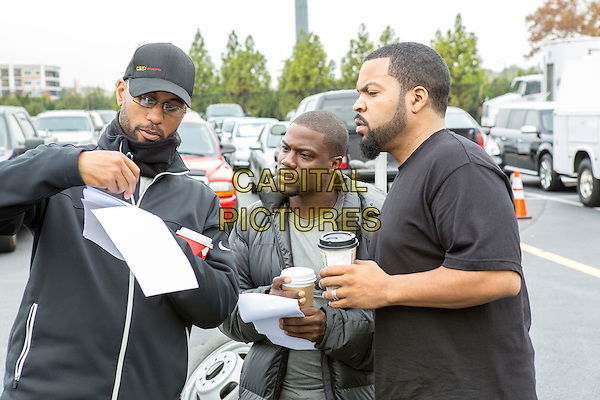Tim Story (Director), Kevin Hart, Ice Cube<br /> on the set of Ride Along (2014) <br /> *Filmstill - Editorial Use Only*<br /> CAP/FB<br /> Image supplied by Capital Pictures
