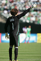 Guillermo Ochoa signals to teammates. Mexico defeated Nicaragua 2-0 during the First Round of the 2009 CONCACAF Gold Cup at the Oakland, Coliseum in Oakland, California on July 5, 2009.