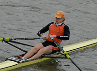 "Seville. SPAIN, 17.02.2007, NED LM1X Gerard van der LINDEN, clears the ""Puente de la Barqueta"" [bridge] during Saturdays heats, of the FISA Team Cup, held on the River Guadalquiver course. [Photo Peter Spurrier/Intersport Images]    [Mandatory Credit, Peter Spurier/ Intersport Images]. , Rowing Course: Rio Guadalquiver Rowing Course, Seville, SPAIN,"