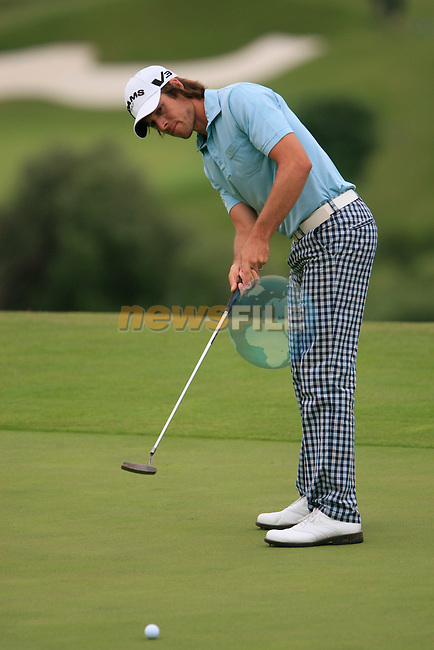 Aaron Baddeley (AUS) takes his putt on the 8th green during Day 2 of the Volvo World Match Play Championship in Finca Cortesin, Casares, Spain, 20th May 2011. (Photo Eoin Clarke/Golffile 2011)