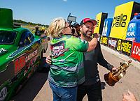 Apr 23, 2017; Baytown, TX, USA; NHRA top alcohol funny car driver Doug Gordon celebrates with crew after winning the Springnationals at Royal Purple Raceway. Mandatory Credit: Mark J. Rebilas-USA TODAY Sports