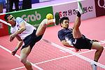 Takeshi Terashima (JPN), <br /> AUGUST 24, 2018 - Sepak takroae : <br /> Men's Doubles Semi-final  match Thailand - Japan <br /> at Jakabaring Sport Center Ranau Hall <br /> during the 2018 Jakarta Palembang Asian Games <br /> in Palembang, Indonesia. <br /> (Photo by Yohei Osada/AFLO SPORT)