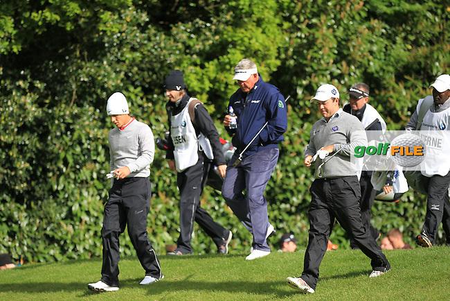 Thorbjorn Olesen (DEN) Darren Clarke (NIR) and Richard Sterne (RSA) on the 2nd during round 1 at the BMW PGA Championship 2013, Wentworth Club, Virginia Water, Surrey, England. 22/5/13.Picture:  Fran Caffrey/www.golffile.ie