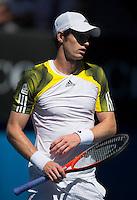 Andy Murray..Tennis - Australian Open - Grand Slam -  Melbourne Park  2013 -  Melbourne - Australia - Saturday 19th January  2013. .© AMN Images, 30, Cleveland Street, London, W1T 4JD.Tel - +44 20 7907 6387.mfrey@advantagemedianet.com.www.amnimages.photoshelter.com.www.advantagemedianet.com.www.tennishead.net