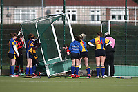The goal is moved on a windy afternoon during Upminster HC Ladies 4th XI vs Havering HC Ladies 3rd XI, Essex Women's League Field Hockey at the Coopers Company and Coborn School on 9th February 2019