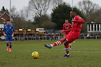 Chris Dickson of Hornchurch scores the first goal for his team and celebrates during Hornchurch vs Aveley, Buildbase FA Trophy Football at Hornchurch Stadium on 11th January 2020