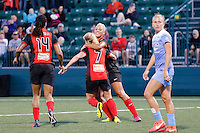 Rochester, NY - Friday July 01, 2016: Western New York Flash midfielder McCall Zerboni (7), Western New York Flash midfielder Lianne Sanderson (10), Western New York Flash forward Jessica McDonald (14) during a regular season National Women's Soccer League (NWSL) match between the Western New York Flash and the Chicago Red Stars at Rochester Rhinos Stadium.