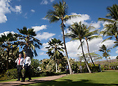 United States President Barack Obama walks with Prime Minister Stephen Harper of Canada during the Asia-Pacific Economic Cooperation (APEC) summit at the J.W. Marriott Hotel in Honolulu, Hawaii on Sunday, November 13, 2011..Credit: Kent Nishimura / Pool via CNP