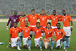 07 August 2008: Netherlands starting eleven. Front row (l to r): Jonathan De Guzman (NED), Calvin Jong-a-pin (NED), Urby Emanuelson (NED), Dirk Marcellis (NED), Royston Drenthe (NED).  Back row (l to r): Kenneth Vermeer (NED), Gianni Zuiverloon (NED), Roy Makaay (NED), Hedwiges Maduro (NED), Kew Jaliens (NED), Ryan Babel (NED).  The men's Olympic team of the Netherlands played the men's Olympic soccer team of Nigeria at Tianjin Olympic Center Stadium in Tianjin, China in a Group B round-robin match in the Men's Olympic Football competition.