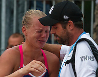Paris, France, 28 June, 2016, Tennis, Roland Garros, Kiki Bertens (NED) defeated Daria Kasatkina (RUS) and celebrates emotionaly and comfort by her coach Raemon Sluiter<br /> Photo: Henk Koster/tennisimages.com