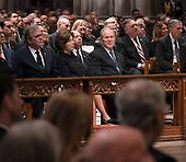 December 5, 2018 - Washington, DC, United States:Jeb Bush, Laura Bush and George W. Bush attend the state funeral service of former President George W. Bush at the National Cathedral.  <br /> Credit: Chris Kleponis / Pool via CNP