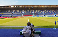 Innenraum im Stade de Meinau - 22.08.2019: Racing Straßburg vs. Eintracht Frankfurt, UEFA Europa League, Qualifikation, Commerzbank Arena<br /> DISCLAIMER: DFL regulations prohibit any use of photographs as image sequences and/or quasi-video.
