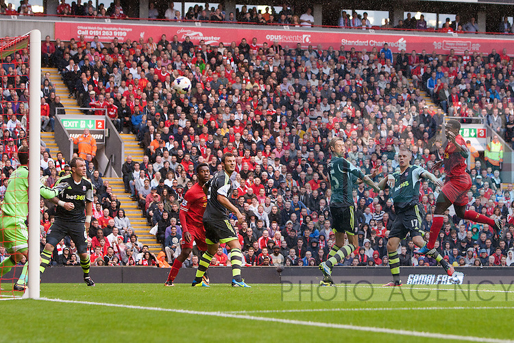 Kolo Toure of Liverpool hits the crossbar with a headed attempt on goal - Liverpool vs. Stoke City -  Premier League - Anfield - Liverpool - 17/08/2013 Pic Philip Oldham/Sportimage