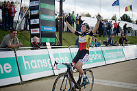 race winner Sanne Cant (BEL/BKCP-Powerplus) crossing the finish line<br /> <br /> GP Zonhoven 2014