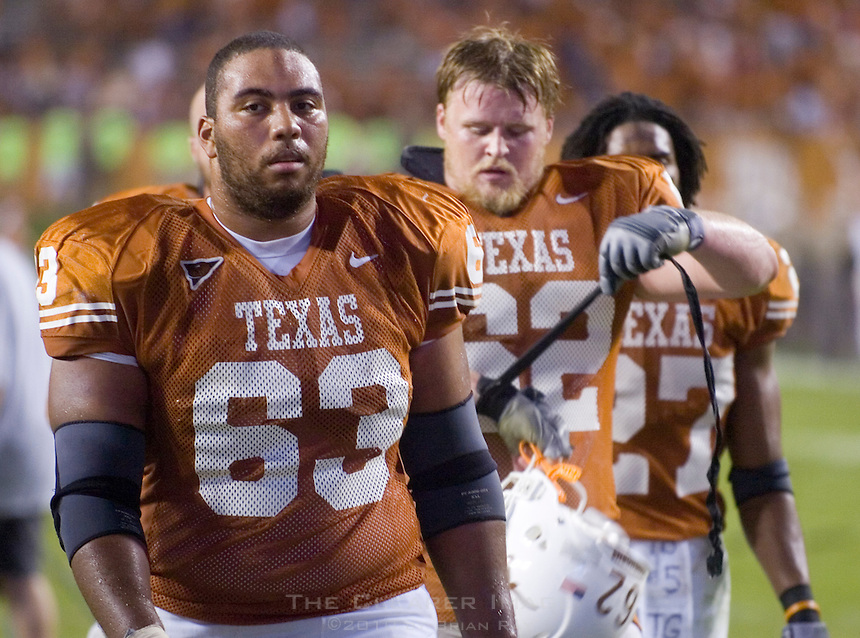 09 September 2006: Texas players, from left to right, Justin Blalock, Lyle Sendlein, and Michael Griffin leave the field following the Longhorns 24-7 loss to the Ohio State Buckeyes at Darrell K Royal Memorial Stadium in Austin, TX.