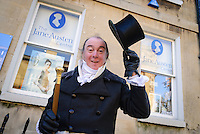 A man dressed in Georgian costume outside the Jane Austen Centre, Bath, UK, October 17, 2007. The city of Bath is famed for it's hot springs (the only in the UK) and it's Georgian architecture. The city is a UNESCO World Heritage Site.