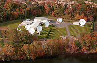 Telenor Satellite Services Earth Station Aerial View, Southbury CT. Located near the Housatonic Dam on the Housatonic River Bank